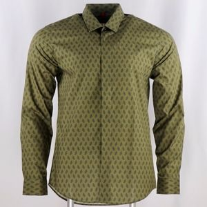 Lords&Fools Men's Cotton Small Pattern Olive Shirt